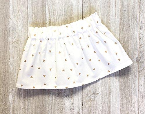 Toddler Skirt, Baby Skirt, Gold and White Geometric Triangle Skirt
