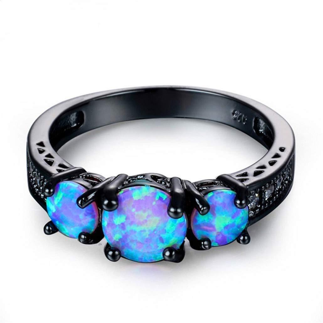 10 Nyaole exquis femelle rond Bleu opale de feu Bague en or noir Bagues de mariage pour femme vintage Bijoux As Description