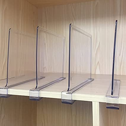 Sooyee Beautiful 4 PCS Acrylic Shelf Dividers, Perfect Perfect Closets  Kitchen Bedroom Shelving Organization To