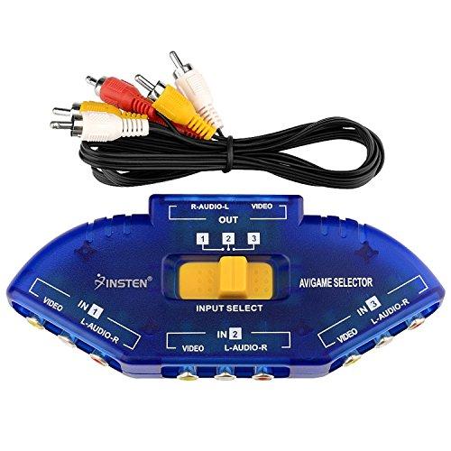 3 Way Rca Tv - Insten AV Audio Video RCA 3 Way Switch Splitter Plus Cable