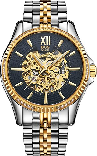 BOS Men's Stainless Steel Gold Case White Dial Skeleton Mechanical Waterproof Wrist Watch 9010 (Gold Black)