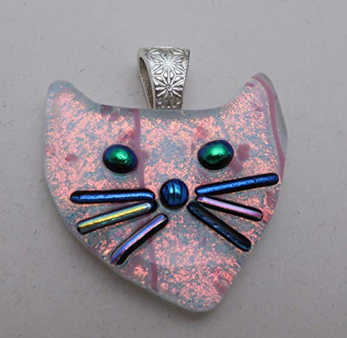 Large Bright Peach Coral cat Fused dichroic glass cat pendant kitty face feline Dichroicat ()