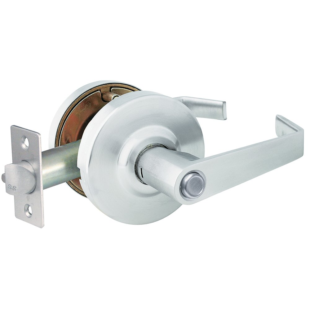 Global Door Controls Brushed Chrome Eiffel Style Commercial Privacy Leverset with Removable Bolt