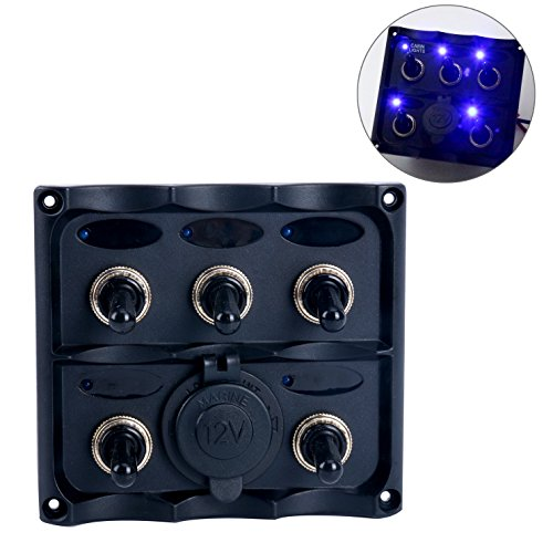Amarine-made PN-TF5J-S Marine Electric 5 Gang Led Toggle Switch Panel With 1 Power Socket for Boat and RVS - - Electrical Panel Switch