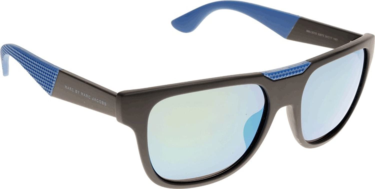Marc By Marc Jacobs 357 Black / Blue Rubber Frame/Green, Silver Mirror Lens Plastic Sunglasses