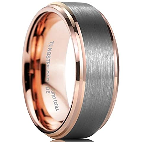 King Will DUO 8mm Tungsten Carbide Wedding Band for Men Rose Gold Plated Beveled Polished Comfort Fit (Tungsten White Gold Ring)