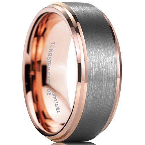 King Will DUO 8mm Tungsten Carbide Wedding Band for Men Rose Gold Plated Beveled Polished Comfort Fit 8