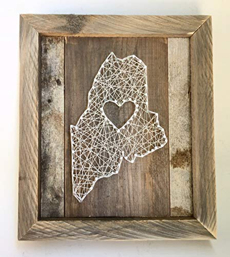 Framed Maine love reclaimed wooden string art sign- A unique Wedding, Anniversary, Birthday, Valentine's Day, Christmas and housewarming gift. Made in -