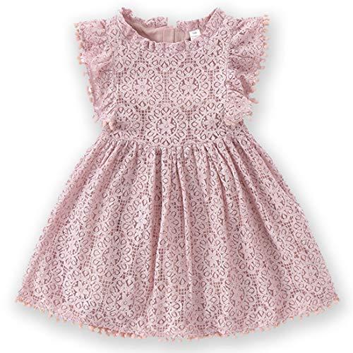 Niyage Toddler Girls Elegant Lace Pom Pom Flutter Sleeve Party Princess Dress Dusty Pink 100
