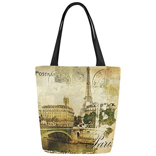 Women Girl Canvas Travel Handbag Shoulder Shopping Bag Paris Eiffel - 4