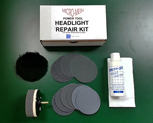Micro-Mesh Acrylic / Plexiglass Plastic Car Headlight Lens Restore Kit with Buffing Pad / Drill Attachment (Headlight Restore Buffing Kit compare prices)
