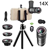 Vorida Smartphone Camera Lens 6 in 1 Cell Phone Camera Lens 14X Telephoto Lens + 180° Fisheye Lens + 0.65X Wide Angle Lens + 15X Macro Lens + Tripod + Remote Control Compatible for iPhone X 8 7 6 Plus, Samsung, etc. (14X SET)