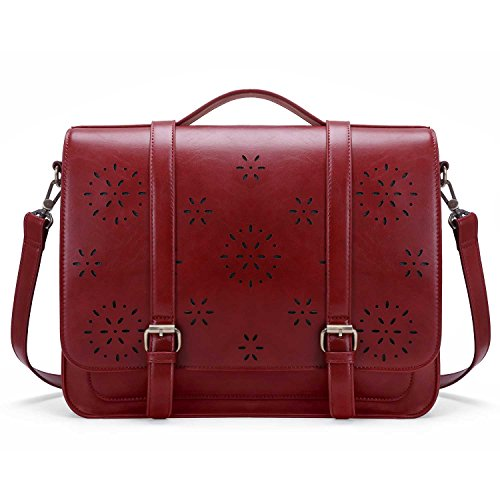 ase PU Leather Laptop Backpack Shoulder Computer Bag Messenger Satchel fit 14.7 inch Laptop, Red (Womens Red Leather Briefcase)