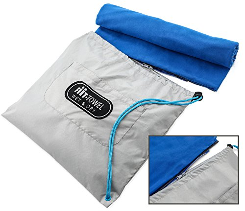 Fit-Towel Microfiber Workout Gym Towel (51 x 24) Quick-Dry, Store Sweat + Wet Gear in Detachable Bag + Key Pocket | Fitness, Hiking, Camping, Swimming, Yoga, Exercise Sports Towel | TiiL (SilverBlue)