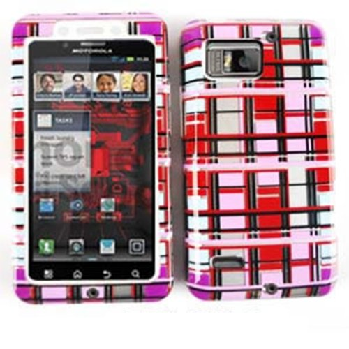 Motorola Red Hard Faceplates (FOR MOTOROLA DROID BIONIC XT875 TRANSPARENT RED PINK WHITE BLOCKS J-TP1452-S HEAVY DUTY FIT-ON PHONE PROTECTOR FACEPLATE BLENDED HARD SOFT CASE)