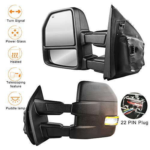 MOSTPLUS New Power Heated Towing Mirrors for Ford F150 2015 2016 2017 w/Turn Signal, Auxiliary,Clearance & Puddle Lights-22 Pin Plug (Set of 2)