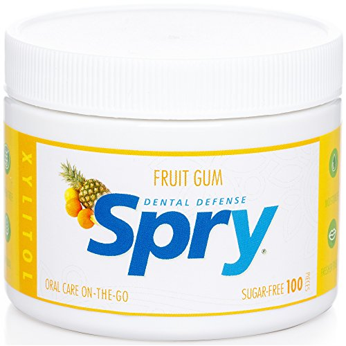 Spry Xylitol Gum, Fresh Fruit, 100 Count - Great Tasting Natural Chewing Gum That is Aspartame-Free, Promotes Oral Health, and Fights Bad Breath