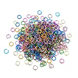 Kissitty 8mm 18 Gauge Random Mixed Color Aluminum Wire Open Jump Rings Inner Diameter: 6mm for DIY Chainmail Jewelry Making (About 3600pcs/bag)