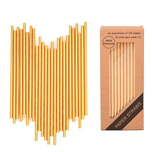 125 PCS Gold Paper Straws Biodegradable Metallic Drinking Decoration Eco Friendly Disposable - Boxed 5 Individual Packs of 25 Units