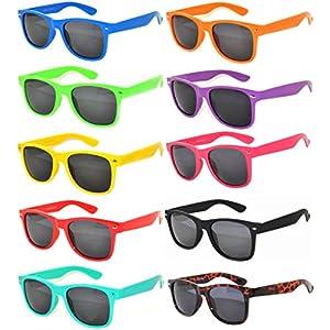 10 Pack Retro'80 Vintage Smoke Lens Sunglasses Many Colors Frame