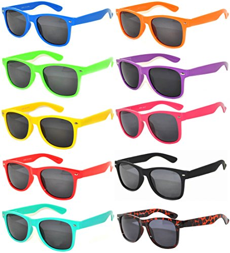 10 Pack Retro'80 Vintage Smoke Lens Sunglasses Many Colors Frame