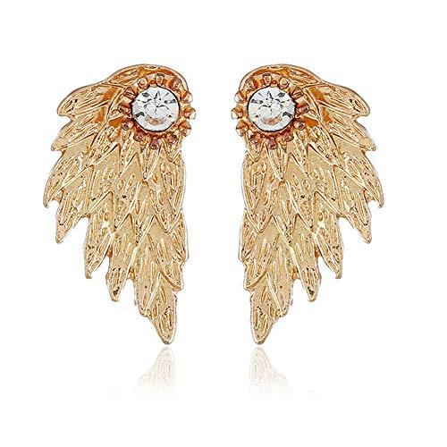 Angel Earrings Gold (Diamond Pearl Double Ball Front Earrings,STAR-TOP Vintage Wings Christmas Reindeer Earring (Wings-Gold))