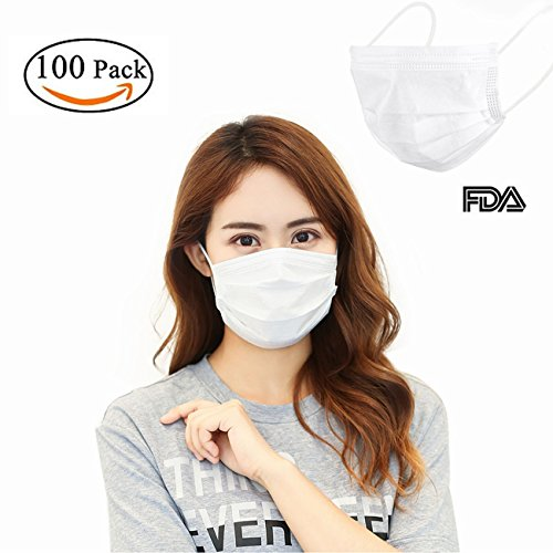 osable Surgical Face Flu Masks, 3-Ply Summer Thin Medical Dental Professional Masks Great for Anti Allergy Dust Bacteria Pollen Pet Hair(White) (Return Bridge Unit)