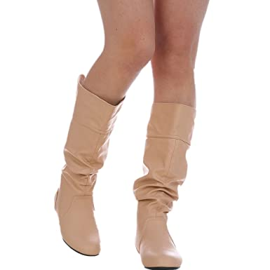 1ffbcf43cecd Amazon.com: Womens Slouchy Flat Knee High Boot Wide Calf Round Toe Boots:  Clothing