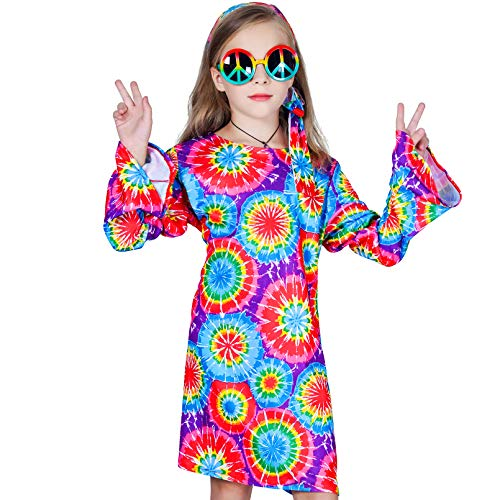 Girl's 60s 70s Flower Hippie Costume Fancy Dress (L (10-12_) -