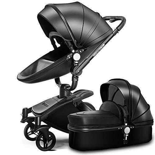 SpringBuds Baby Stroller Bassinet Carriage Combo 360 Rotation 2-in-1 Shock-Resistant High Landscape Luxury Pram Stroller for Newborn and Toddler - Gloss Black