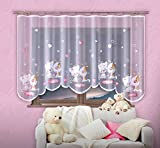 Children's Curtain Children Jacquard Net Curtains with Universal Curtain Tape White with Chevron Print Best Friends, 150x300 cm