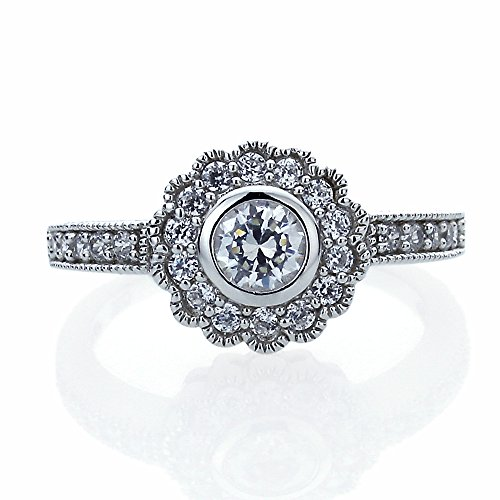Sterling Silver Antique Style Round CZ Flower Engagement Wedding Ring (Silver Stamp Style Sterling Antique)