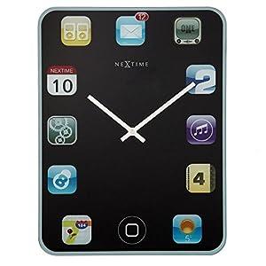 """NeXtime Reloj de pared """"WALL PAD"""", silencioso, vidrio, diseño de iPad, colorido, rectangular, 40 x 30 cm 5"""