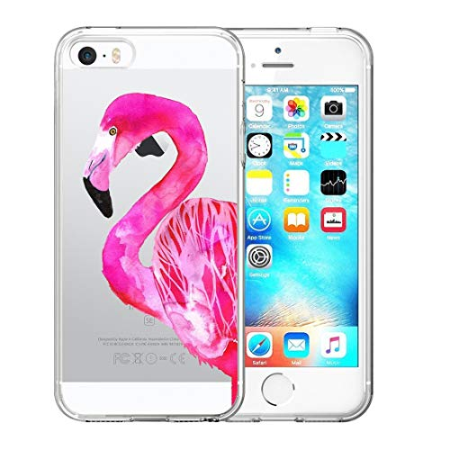 iPhone 5 5S SE UV Case Van Clear Transparent Slim Soft TPU UV Printing Protective Case for iPhone 5 5S SE Pretty Pink Flamingo]()