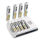 EBL 8 Packs AAA 800mAh Rechargeable Battery with 4 Slot Individual AA AAA Rechargeable Battery Rapid Charger
