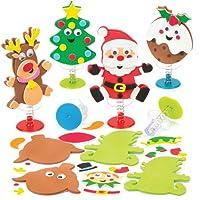 Baker Ross Kits de Personnages de Noël à Ressort, Jouets de Noël Amusants à Petits Prix - Parfaits pour Les Pochettes-Surprises des Enfants (lot DE 6)