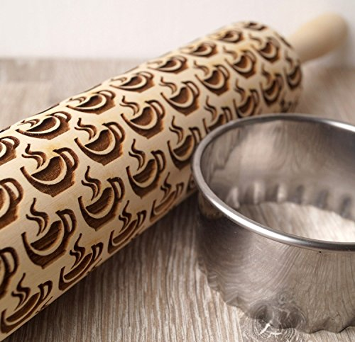 Embossing rolling pin, Cup of Tea design, Cookies decorating rolling pin