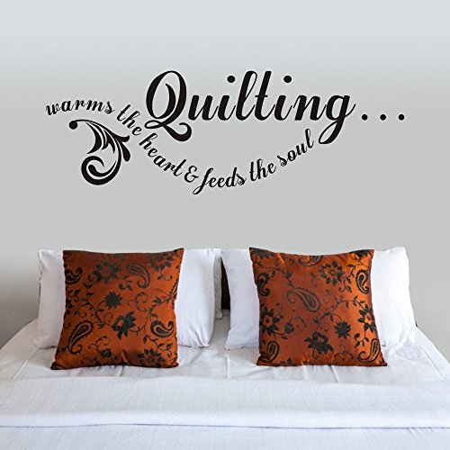 Quilting Vinyl Wall Decal Vinyl Lettering Wall Words Sewing Quilting Room Decor (Large,Black)