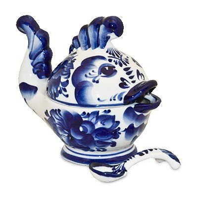 Breeze Gravy Boat (Little Fishy Caviar Dish & Spoon Gzhel Porcelain)