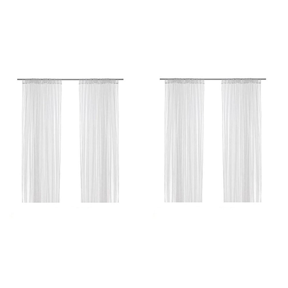 Ikea Lill Sheer Curtains 4 Panels 98 X 110 (2 Curtain Pairs, White) by IKEA