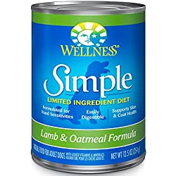 Wellness Simple Natural Wet Canned Limited Ingredient Dog Food, Lamb & Oatmeal, 12.5-Ounce Can (Pack of 12)