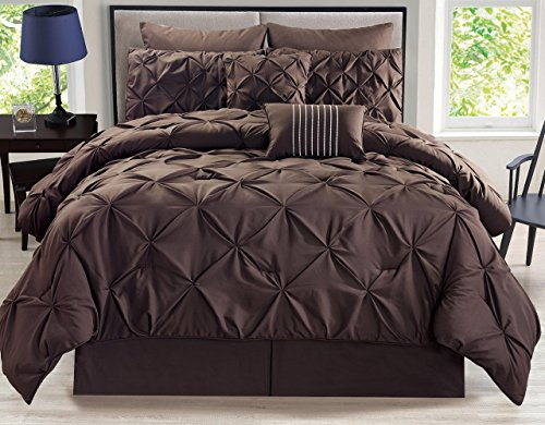KingLinen 8 Piece Rochelle Pinched Pleat Coffee Comforter Set Queen