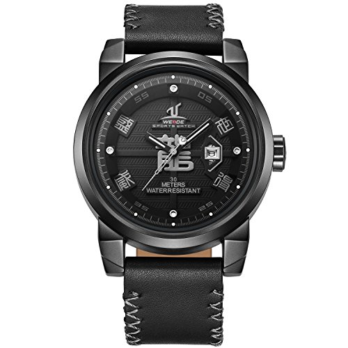 - WEIDE Men's Casual Dragon Chinese Characters Calendar Quartz Wristwatch