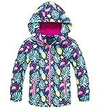 Kids Girl's Floral Fleece Lined Waterproof Hoodie Rain Jacket Coat, Hooded Outdoor Outerwear for Kids Girls, US 4-5 Years (4t-5t) =Tag S