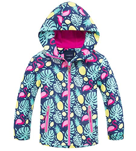 (Kids Girl's Floral Fleece Lined Waterproof Hoodie Rain Jacket Coat, Hooded Outdoor Outerwear for Kids Girls, US 4-5 Years (4t-5t) =Tag)