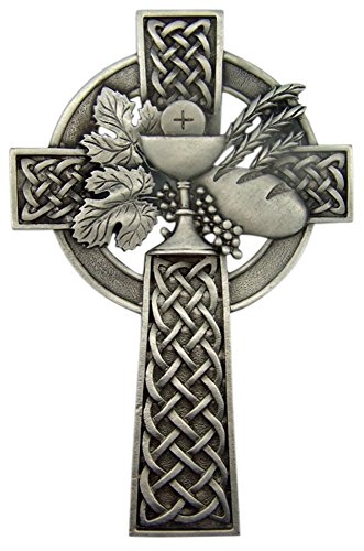 Pewter Celtic First Communion Wall Cross with Chalice Grapes and Wheat, 5 - Wheat Communion Cross First