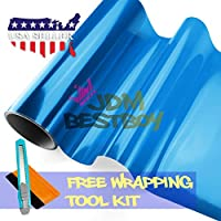 "Free Tool Kit 12""x60"" (1FT x 5FT) Glossy Blue Tint Headlight Fog Lights Taillight Smoke Vinyl Film Self Adhesive"