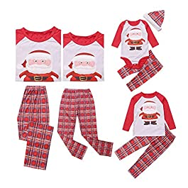 Family Matching Christmas Pajamas Set Santa Claus Printed Long Sleeve Tops with Red Stripe Pants Homewear