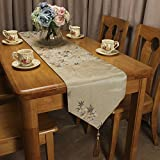 CURCYA Traditional Chinese Window Flowers Jacquard Vintage Table Runner for Home Decoration Hotel Villa Elegant Classic Table Runners for Luxury Wedding Parties (Beige, 30x260cm (11.8x102.4))