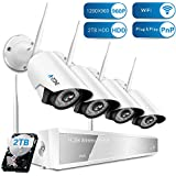 A-ZONE Outdoor Security Camera, 4CH 960P Wireless Security Camera System with 2TB HDD, 4pcs 960P HD Indoor Outdoor Wireless IP Cameras Night Vision,Easy Remote View